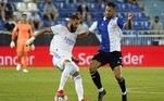 O primeiro gol do time merengue na estreia do torneio nacional foi marcado pelo atacante francês Karim Benzema