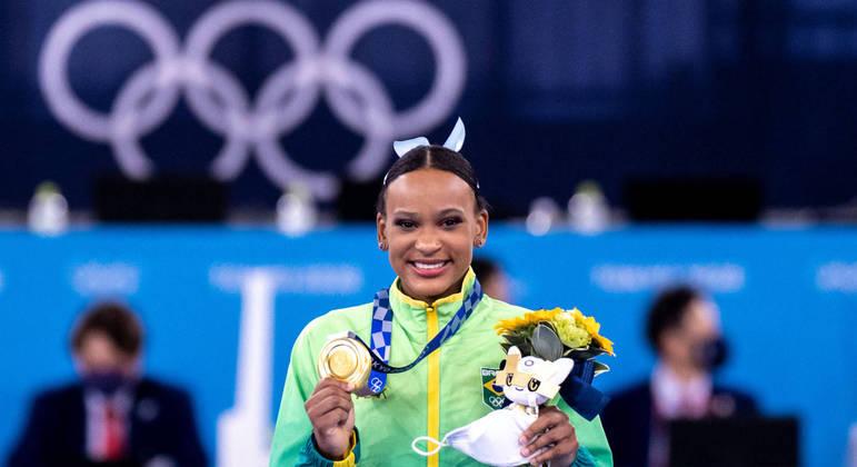 Rebeca Andrade venceu medalha inédita de ouro na ginástica artística
