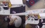 A recepcionista de uma casa de bilhar em Macheng, na província chinesa de Hubei, foi atingida no meio da testa por uma bola branca