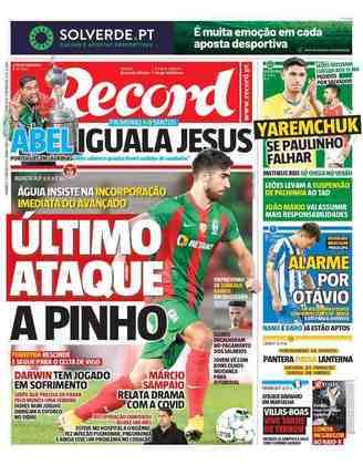 Record - Outro diário de Portugal exaltou Abel Ferreira e lembrou de Jorge Jesus.