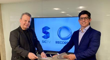Da esquerda para direita:  o Diretor Presidente da SIC TV Everton Leoni e o Superintendente de Rede da Record TV e Vice-Presidente de Televisão da Abratel André Dias.