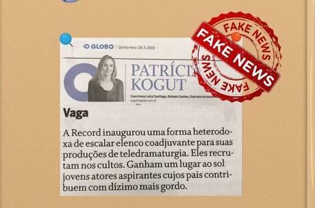 Jornalista de O Globo divulgou notícia falsa