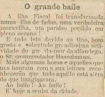 Recorte de jornal sobre baile da Ilha Fiscal