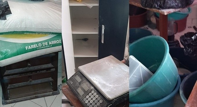 Agentes localizaram sacos com pó branco similar à cocaína e material similar à pasta-base