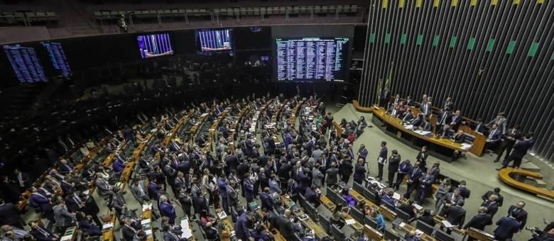 Plenário da Câmara dos Deputados, em Brasília, durante sessão da reforma da Previdência