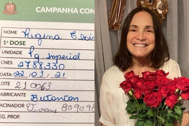 A atriz Regina Duarte, de 74 anos, recebeu a primeira dose da vacina CoronaVac, do Instituto Butantan, no dia 22 de março. A ex-secretária especial de Cultura chegou a questionar nas redes sociais, em janeiro, a eficácia dos imunizantes contra a covid-19