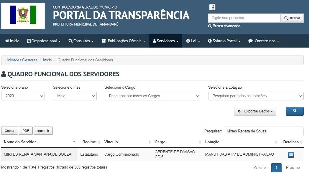 Registro de Mirtes no Portal da Transparência da cidade