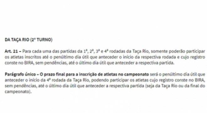Regulamento inscrição de jogadores - Carioca