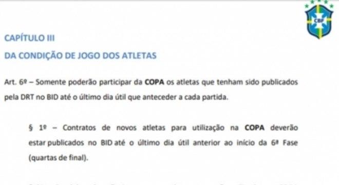 Regulamento inscrição de jogadores - Copa do Brasil