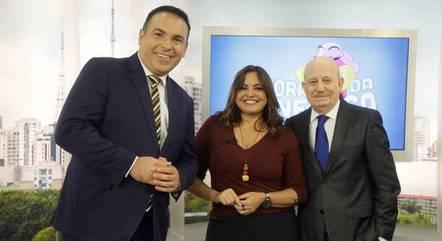 Reinaldo Gottino, Fabiola Reiipert e Renato Lombardi no Balanço Geral SP