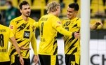 O jovem brasileiro, de 19 anos, comemorou o gol com o norueguês Haaland, autor da assistência para que o ex-Fla chegasse às redes do adversário