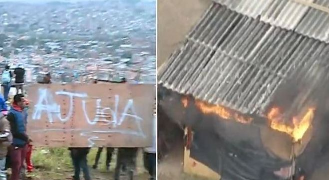 Moradores colocam fogo em barracos durante reintegração de posse em SP