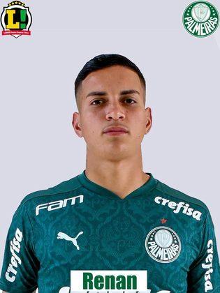 Renan: 6,0 – Partida muito madura do jovem de apenas 18 anos em sua estreia como titular na Libertadores. Foi bem pelo lado esquerdo, com desarmes, antecipações e lançamentos.