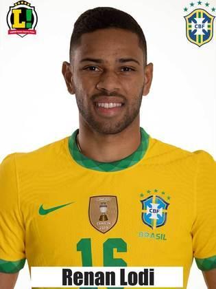 Renan Lodi - 5,5 - Pelo posicionamento de Neymar, Renan Lodi foi o responsável por alargar o campo no lado esquerdo. Não foi tão influente no ataque e foi amarelado na primeira etapa. Foi substituído após o intervalo.