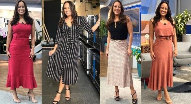 Renata Alves arrasa com seus looks midi no programa Hoje em Dia.