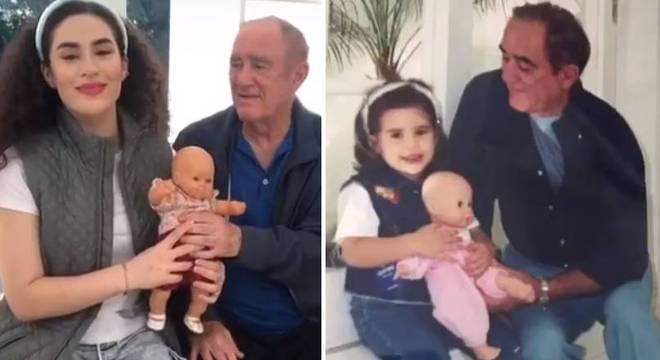 Renato Aragão e Lívian reproduziram um momento da infância da atriz