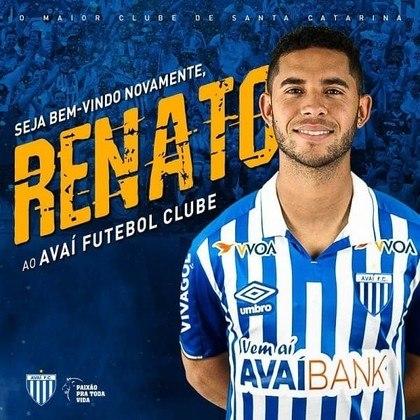 Renato - Através do seu site, o Avaí confirmou a informação que já era aguardada: a contratação do atacante Renato, jogador que estava ligado contratualmente à Chapecoense