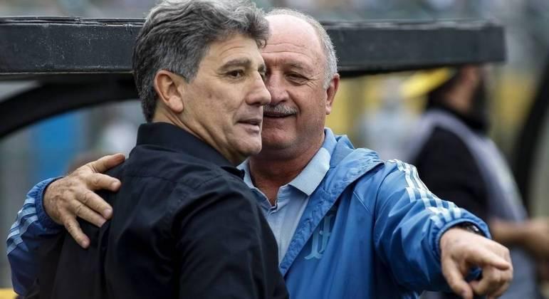 Renato Gaúcho e Felipão. Deixaram mágoas. Rejeitados pelos jogadores, do lanterna Grêmio