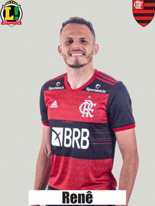 RENÊ - 5,0 Os desarmes e as interceptações feitas não minimizaram a atuação defensiva ruim do Flamengo, como um todo. É claro que a diferença para Filipe Luís é grande, especialmente no quesito ofensivo, mas o camisa 6 passou longe de comprometer.
