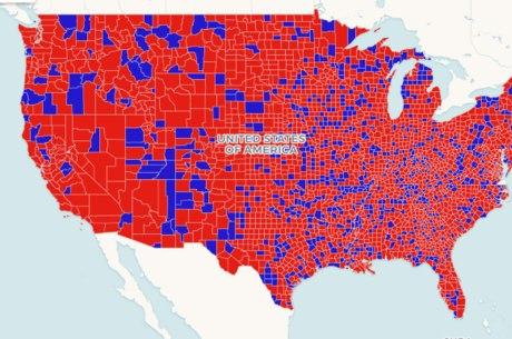 Democratas (azul): mais buscados que os republicanos