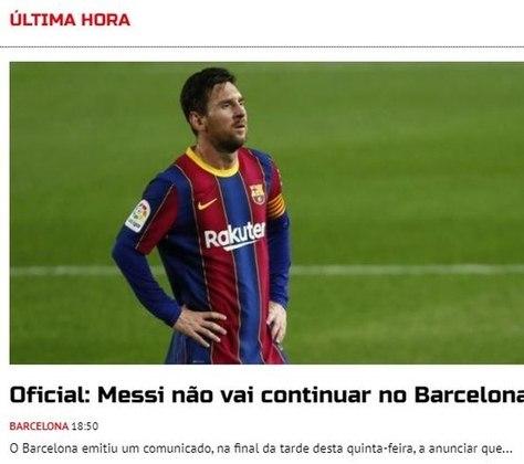 Repercussão da saída de Lionel Messi do Barcelona no A Bola, de Portugal.