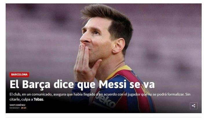 Repercussão da saída de Lionel Messi do Barcelona no AS, da Espanha.