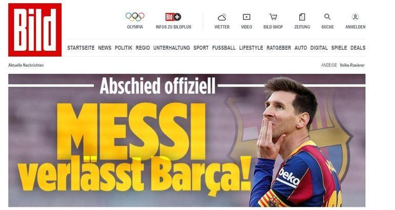 Repercussão da saída de Lionel Messi do Barcelona no Bild, da Alemanha.