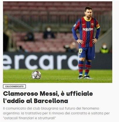 Repercussão da saída de Lionel Messi do Barcelona no Corriere dello Sport, da Itália.