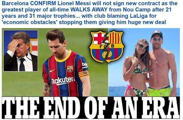 Repercussão da saída de Lionel Messi do Barcelona no Daily Mail, da Inglaterra.