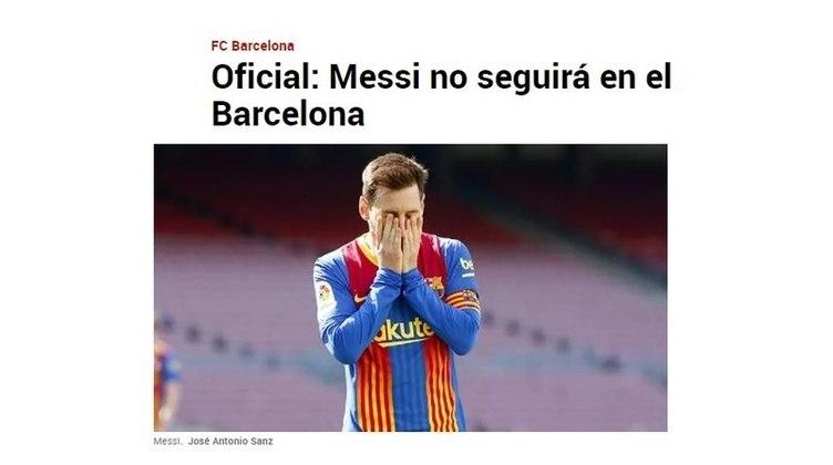Repercussão da saída de Lionel Messi do Barcelona no Diário Marca, da Espanha.