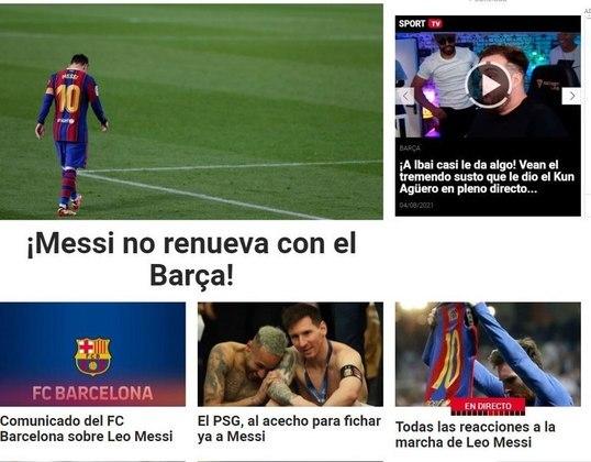 Repercussão da saída de Lionel Messi do Barcelona no diário Sport, da Espanha.