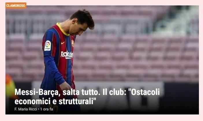Repercussão da saída de Lionel Messi do Barcelona no La Gazzetta dello Sport, da Itália.