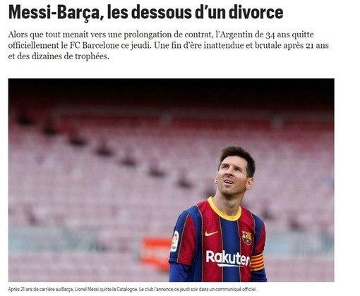Repercussão da saída de Lionel Messi do Barcelona no Le Parisien, da França.