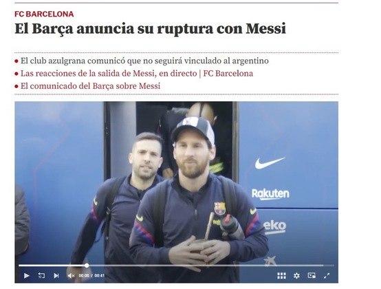 Repercussão da saída de Lionel Messi do Barcelona no Mundo Deportivo, da Espanha.