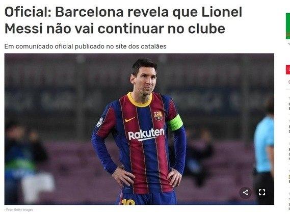 Repercussão da saída de Lionel Messi do Barcelona no Record, de Portugal.