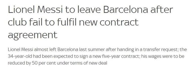 Repercussão da saída de Lionel Messi do Barcelona no Sky Sports, da Inglaterra.