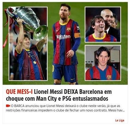Repercussão da saída de Lionel Messi do Barcelona no The Sun, da Inglaterra.
