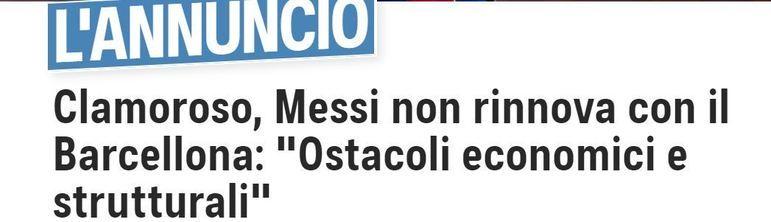 Repercussão da saída de Lionel Messi do Barcelona no TuttoSport, da Itália.