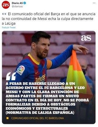Repercussão da saída de Lionel Messi do Barcelona no Twitter oficial do Diário AS, da Espanha.