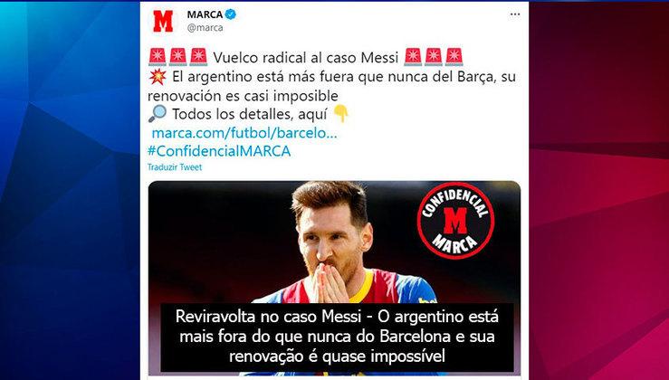 Repercussão da saída de Lionel Messi do Barcelona no Twitter oficial do Diário Marca, da Espanha.
