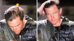 Ao vivo, repórter cospe na mão para arrumar cabelo; assista ao vídeo! (Reprodução/Twitter)