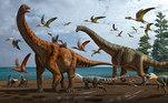 Representação artística da paleoecologia da Fauna do Pterossauro Hami, com Silutitan sinensis à esquerda e Hamititan xinjiangensis à direita