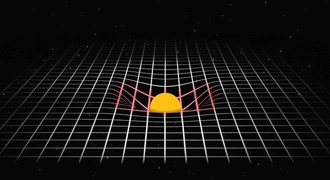 Einstein explicou a gravidade como a curvatura criada por um corpo massivo, como o Sol, no tecido do espaço-tempo