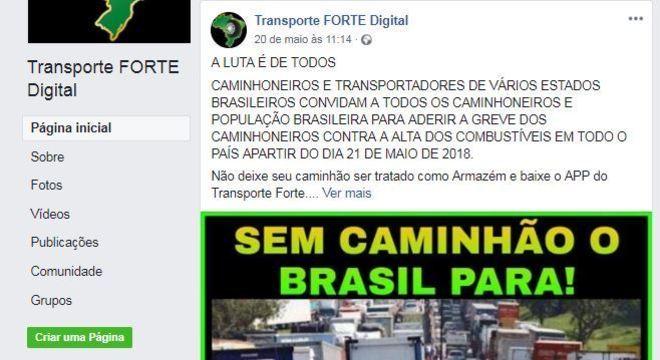Página do Facebook voltada aos caminhoneiros convocava trabalhadores para a greve no último domingo (20)