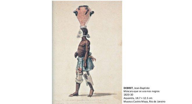 Reprodução de aquarela pintada por Jean-Baptiste Debret; escravos responsáveis pelo manejo de esgoto de cidades brasileiras