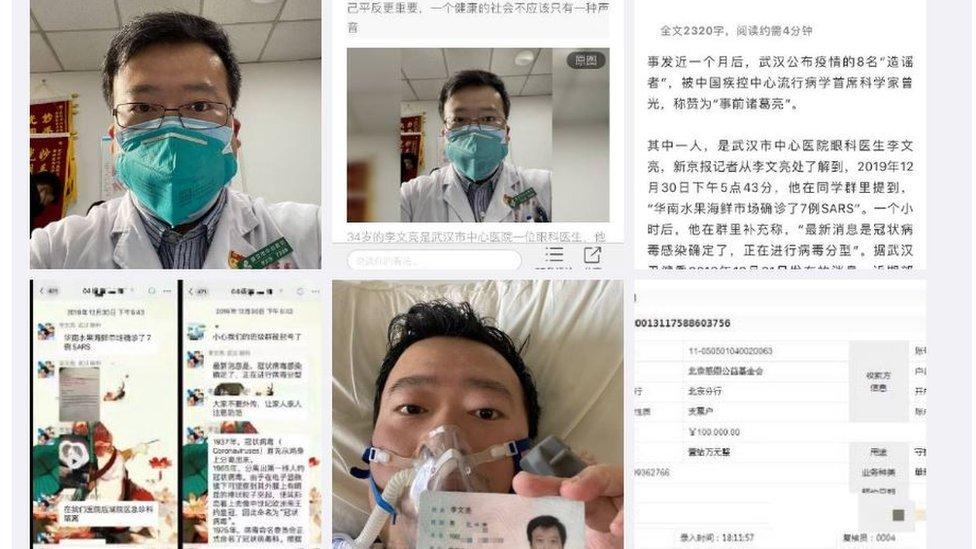 Reprodução de posts no Weibo que tratam do caso de Li Wenliang