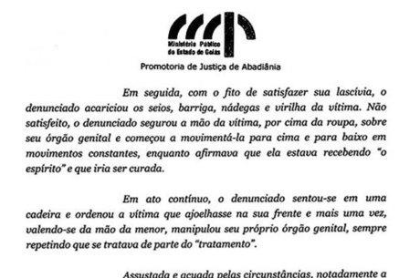 Reprodução de trecho do recurso do Ministério Público de Goiás, de 2012, contra a absolvição de João de Deus em primeira instância, em um caso de abuso sexual de uma menor, ocorrido em 2008. Mesma promotora deve denunciar João de Deus pelos casos que vieram à tona este ano Promotora já havia denunciado João de Deus dez anos atrás