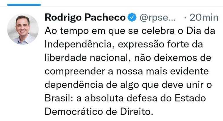 Reprodução do tuíte do presidente do Senado, Rodrigo Pacheco (DEM-MG)