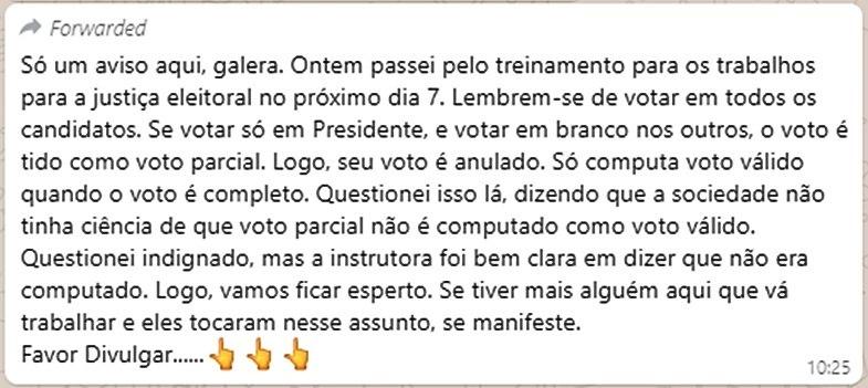 """Mensagem sobre """"voto parcial"""" no WhatsApp é falsa"""
