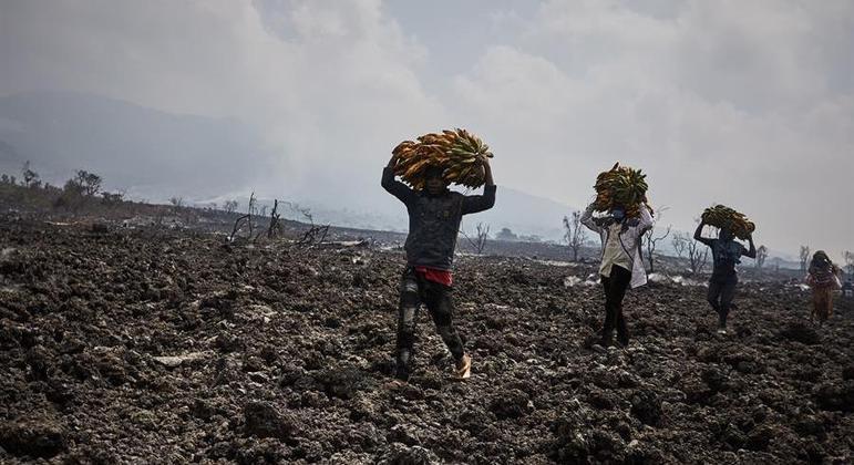 Moradores de distritos de Goma precisaram deixar suas casas por conta de uma nova erupção
